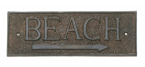 Beach Arrow Directional Wall Sign Metal 9.5 Inch Cast Iron