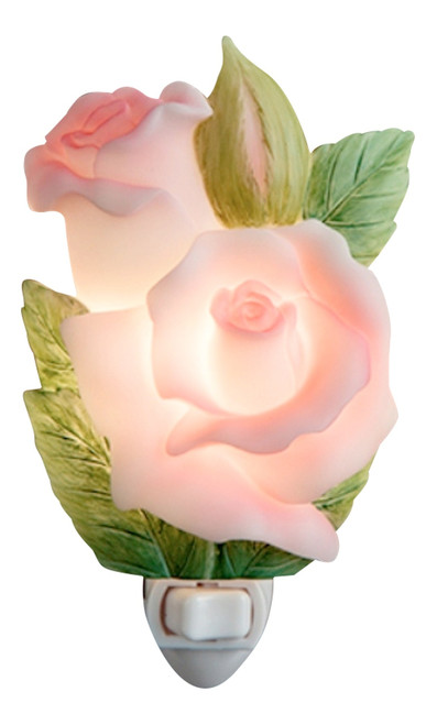 Pink Rose Bud Flower Floral Hand Painted Night Light