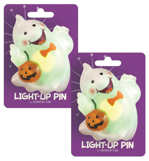 Spooky Fun Lights Up Halloween Ghost Pin Set of 2 Midwest CBK