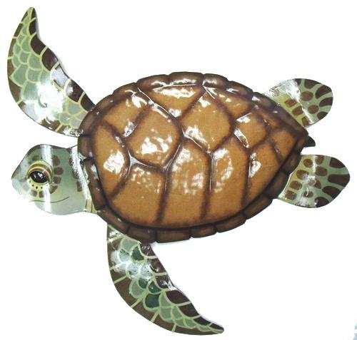 Coastal Sea Turtle Metal Patio Wall Decor 14 Inches