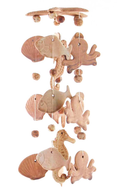 Sea Life Octopus Fish Shell Seahorse 14 Inch Wind Chimes Garden Decor
