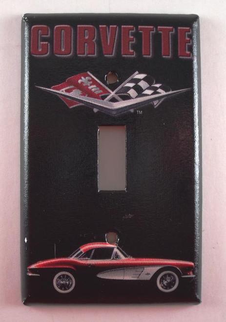 Corvette Vette Racing Flag Single Switch Plate Cover