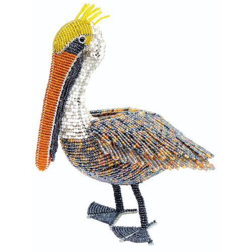 In the Tropics Natural Pelican Glass Beaded Wire 11 Inch Tabletop Sculpture