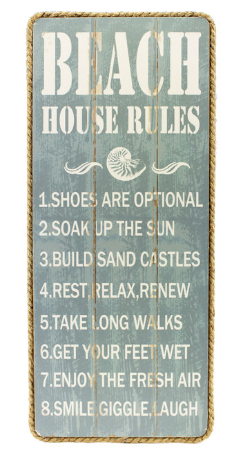 Beach House Rules Slatted Wood Rope Trim Wall Plaque 19.5 Inches