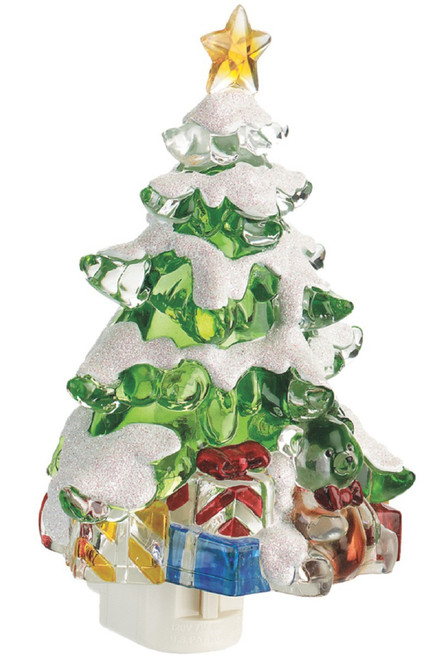 Snow Covered Christmas Tree with Gifts Night Light Acrylic 6 Inch