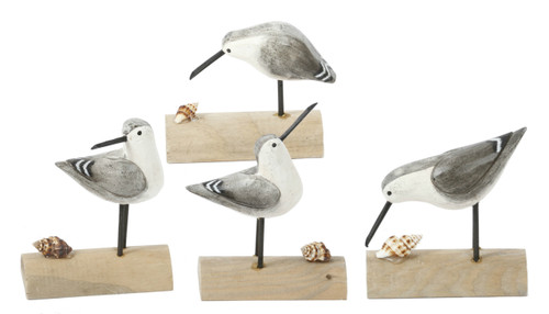 Carved Beach Birds with Shell Accents 6 Inch Figurines Set of 4 Tabletop Decor