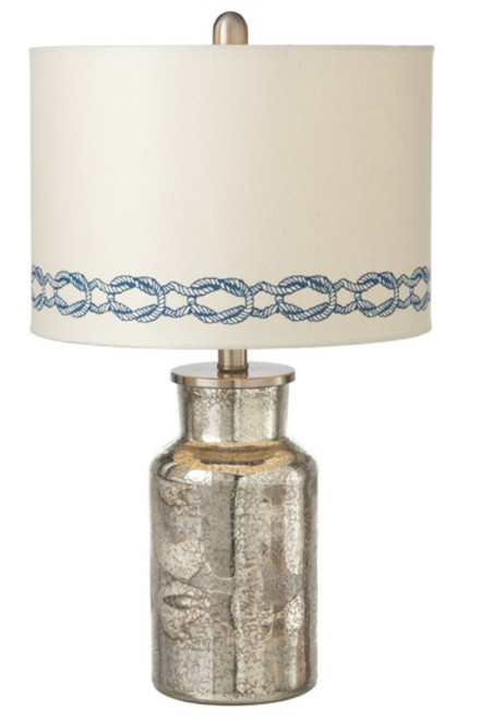 Printed Sailors Knot Shade Silver Accent Lamp Tabletop Set of 2