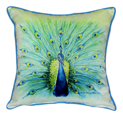 Blue Peacock Plumage Indoor Outdoor Pillow 18 X 18 Made in the USA