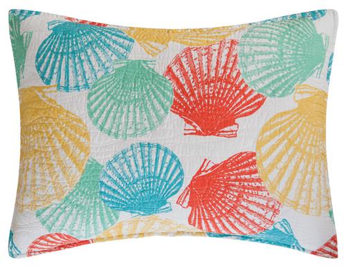 Captiva Island Shells Teal Yellow Green White Standard Pillow Sham 26 X 20 Inch