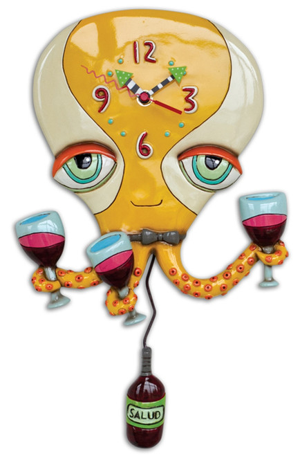 Happy Hour Tipsy Octopus Raise a Glass of Wine Battery Wall Clock