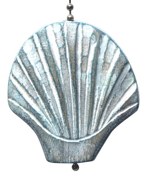 Aqua Scallop Shell Hand Carved Wood Ceiling Fan Light Pull