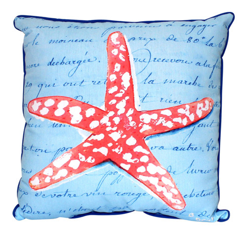 Coral Starfish Blue Script 18 Inch Indoor Outdoor Pillow Betsy Drake Design