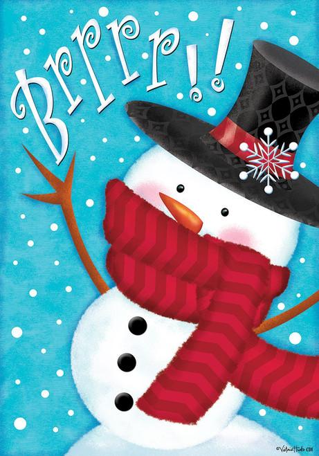 Brrrr Snowman with Fresh Snow Falling 12 X 18 Inch Garden Flag Custom Décor