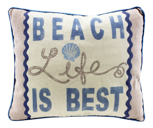 Beach Life Is Best 13 Inch Natural Fabric Decorative Throw Pillow