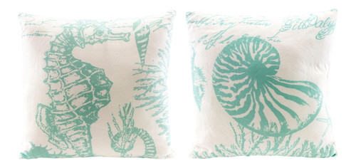 Aqua Sealife Seahorse and Nautilus Shell on White 13 Inch Throw Pillows Set of 2