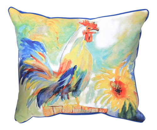 Betsys Rooster 16 x 20 Inch Indoor Outdoor Throw Pillow Betsy Drake Design