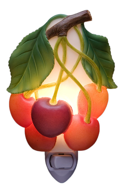 Bunch of Cherries Night Light Red Kitchen Decor
