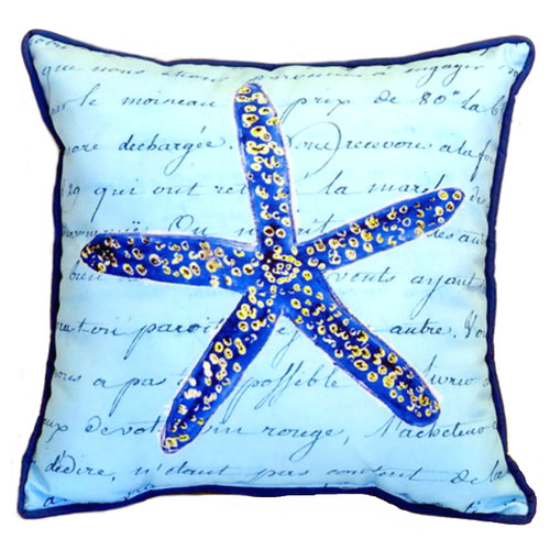 Blue Starfish With Script  Accent Throw Pillow Indoor Outdoor 18 X 18 Inches