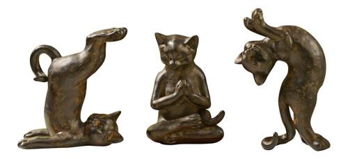 Playful Kitty Cats Figurines Set of 3 Antiqued Brown Tabletop Decor