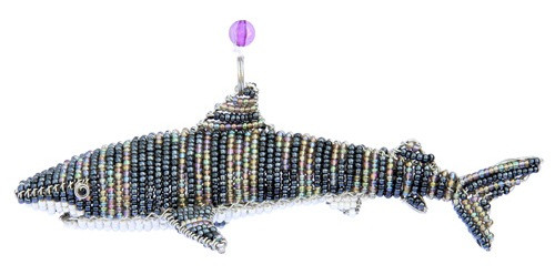 Nautical Baby Tiger Shark Glass Beaded Wire Sculpture