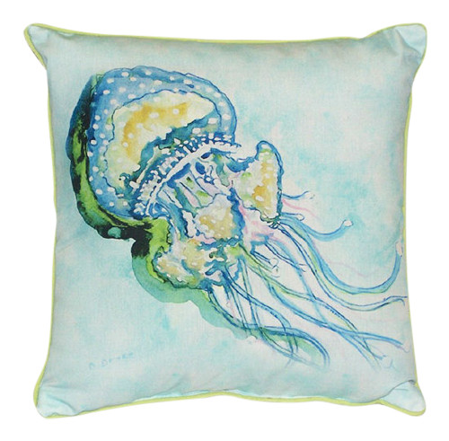 Coastal Jellyfish Tentacles Indoor Outdoor Pillow 12 X 12 Small Made in the USA