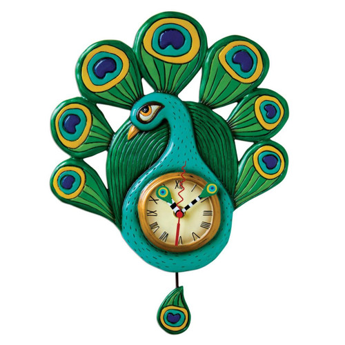Blue and Green Pretty Peacock Pendulum Battery Wall Clock