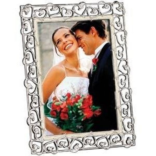 8 x 10 Bliss Silverplated Metal Picture Frame With Hearts Prinz
