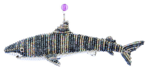 Nautical Tiger Shark Game Fish Glass Beaded Wire Sculpture
