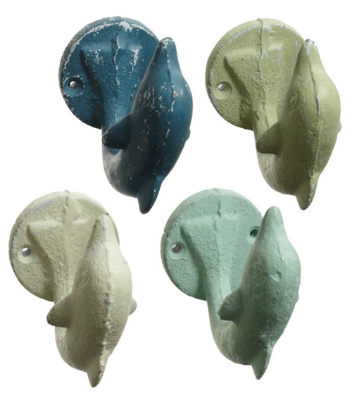 Blue Teal Green and White Dolphins Single Wall Hooks Set of 4 Cast Iron