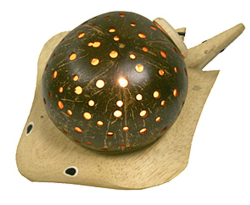 Stingray Shaped Coconut Shell and Wood Night Lamp 7 Watt Electric