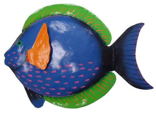 Coastal Tropical Reef Blue Surgeon Fish Haitian Metal Art Wall Décor