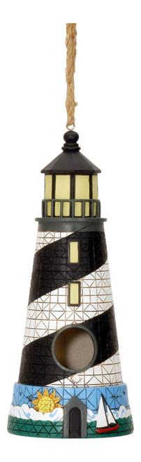 Black and White Lighthouse Birdhouse 11 Inch Resin Shaped Backyard Garden Decor