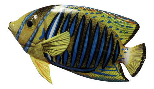 Big 12 Inch Tropical Fish Tiki Sea Life Bath Wall Decor Blue Stripe 12TFW40