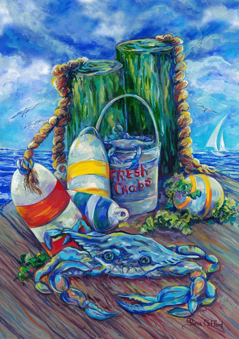 Blue Crab on Pier with Buoys House Flag 28 X 40 Inches