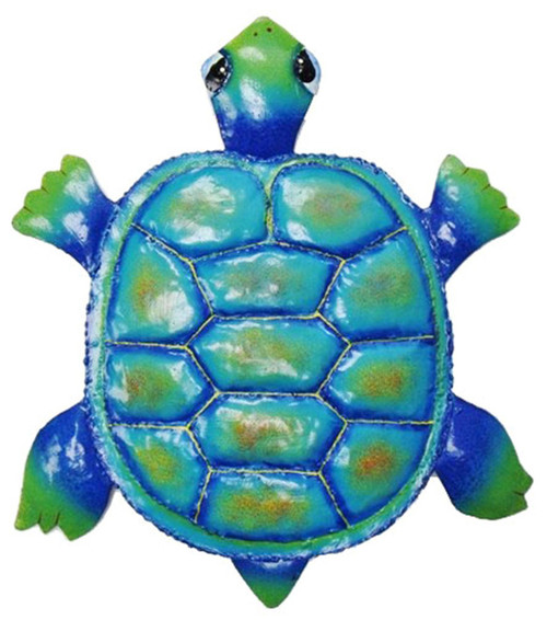 Coastal Colorful Fun Turtle Haitian Metal Art Wall Hanging