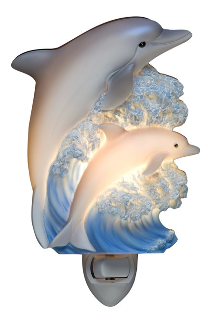 Blue Dolphins Night Light Porpoises Sculpted Marble