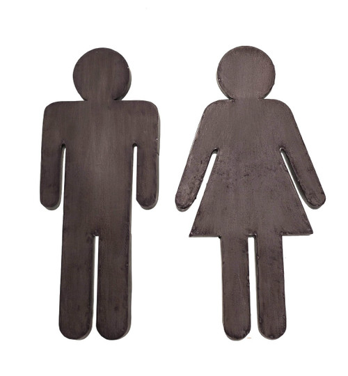Bathroom Door Sign Boy and Girl Male and Female Metal Set of 2