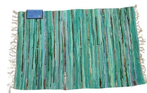 Coastal Green Color Chindi Woven Accent Throw Rug 36X24 Inches