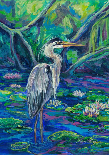 Coastal Regal Great Blue Heron 18 X 12.5 Inches Garden Flag