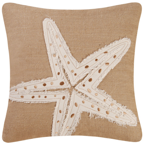 Burlap Embroidered Starfish 18 X 18 Inch Coastal Decor Accent Throw Pillow