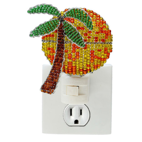 Palm Tree and Tropical Sun Night Light Glass Beaded Wire Sculpture