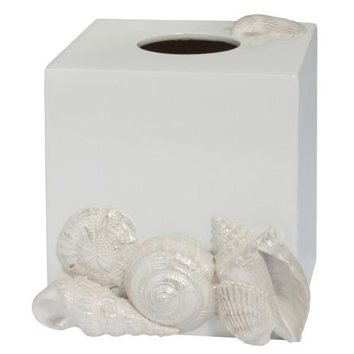 Elegant Natural Beauty Seaside White Shells Bathroom Bath Tissue Box Cover