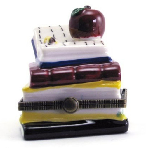 Apple Stack of Books Teacher Hinge Trinket Box phb