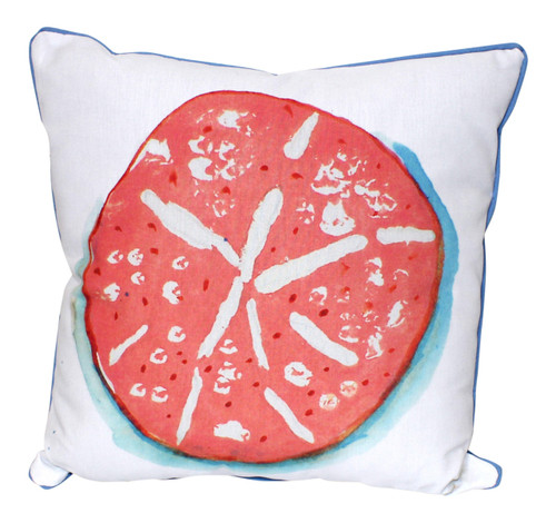 Coral Sand Dollar on White 18 Inch Indoor Outdoor Pillow Betsy Drake Design