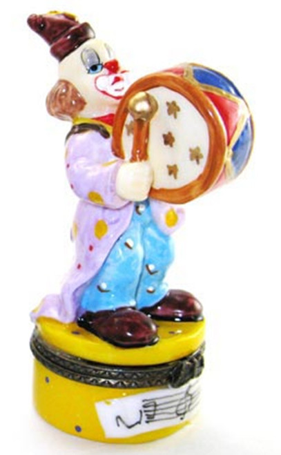 Bass Drum Playing Clown Hinged Trinket Box phb