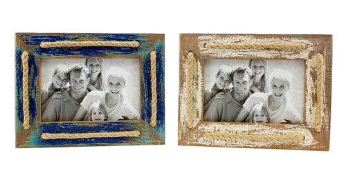 Blue and Cream 4X6 Photo Frames Set of 2 Tabletop Wood with Rope