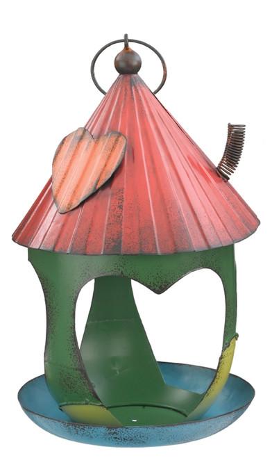 Corrugated Metal Whimsical Green Bird Feeder 11.5 Inch Garden Decor Regal Art
