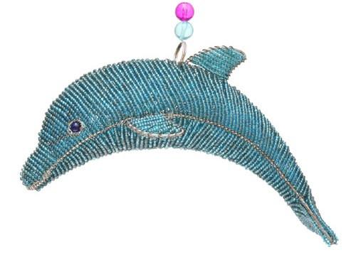 Marine Ocean Dolphin Teal Glass Beaded Wire Sculpture Grassroots Beadworkx