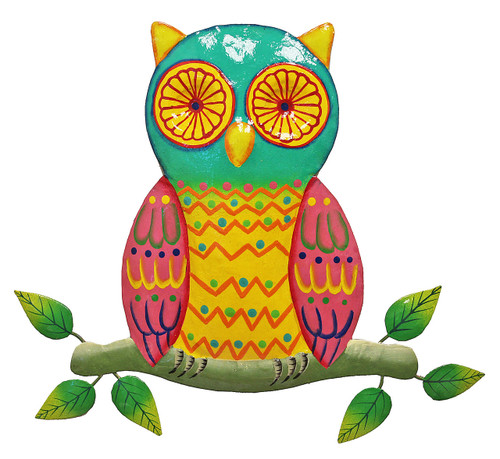 Amazing Wise Hooty Hoot Owl Teal and Pink 9 Inch Haitian Metal Art Wall Decor