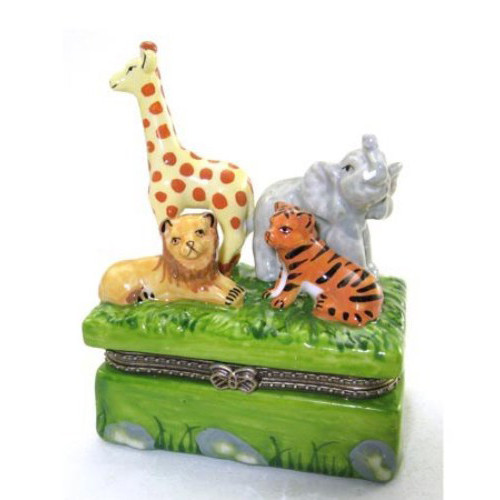 Animals in the Jungle Lion Tiger Elephant Giraffe Hinged Trinket Box